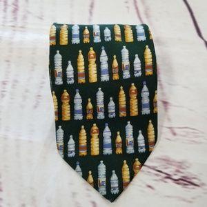 Palais Des Doges Neck Tie Green Yellow Bottles